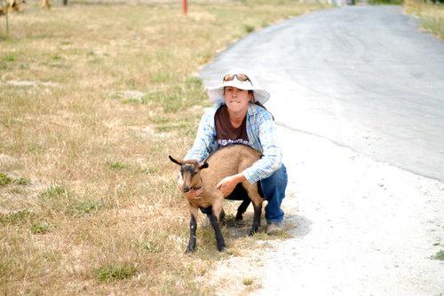Kirsten Roehler with Audrey, her pet goat